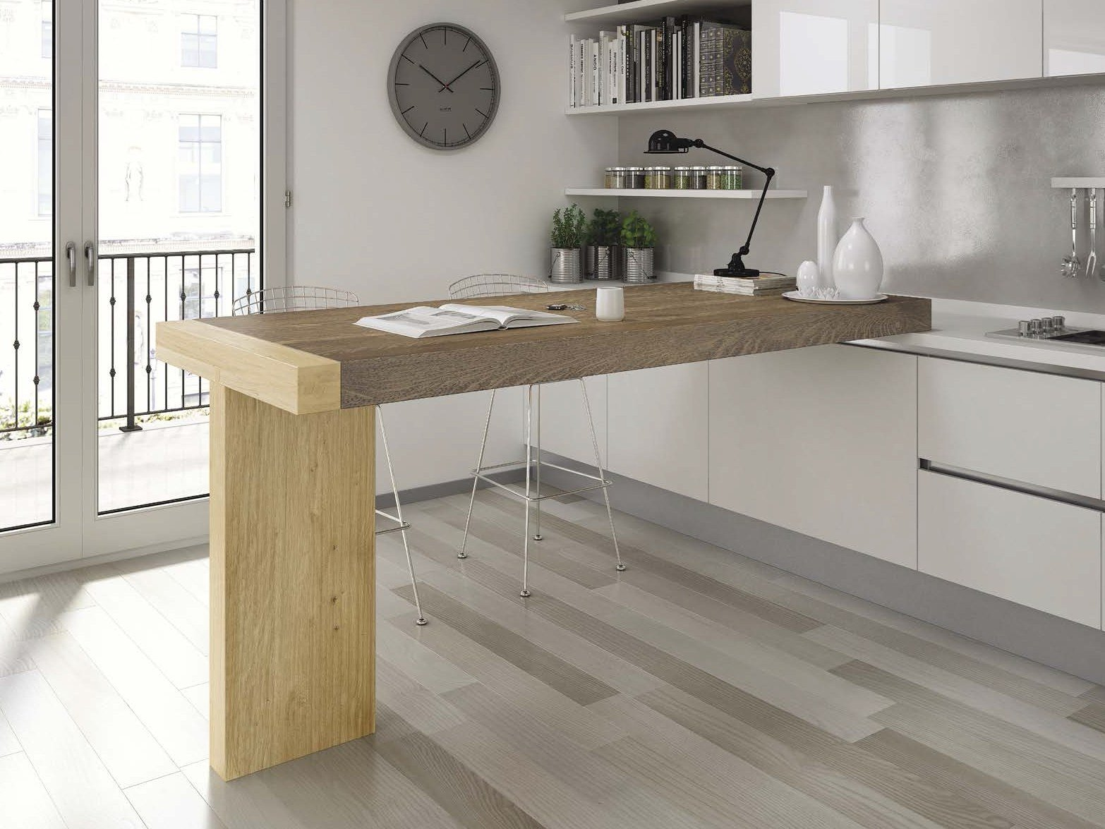Tavolo a penisola alto da cucina TAU by Domus Arte design Enrico Bedin ...