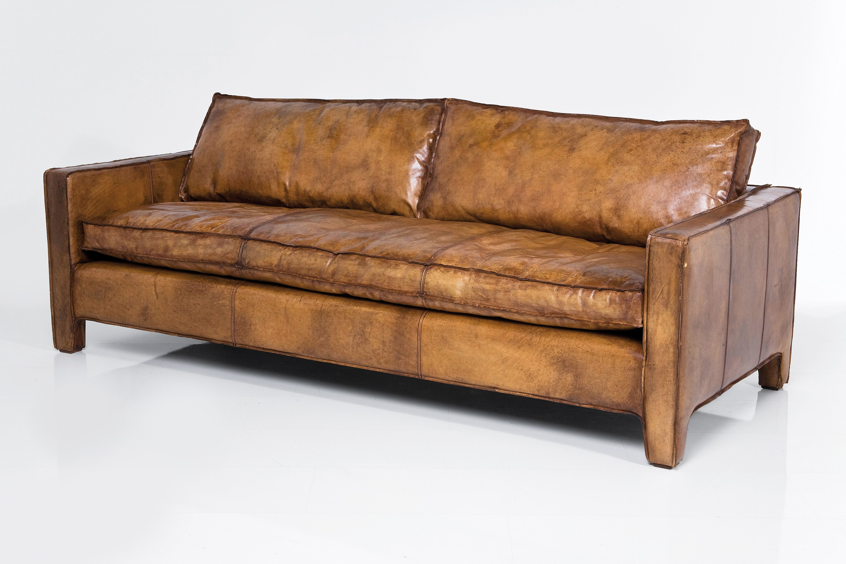 3 seater leather sofa FY BUFFALO BROWN By KARE DESIGN