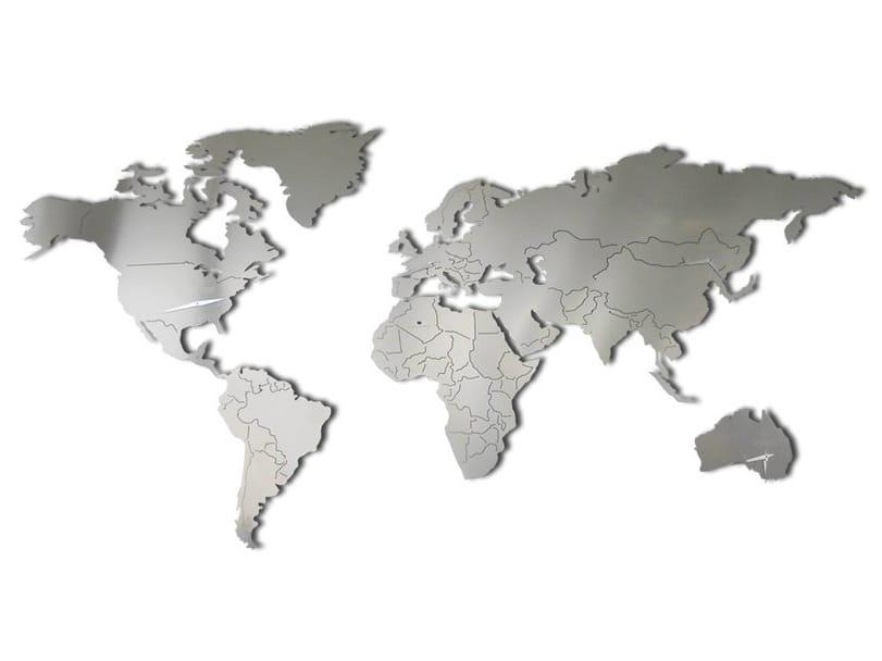 Planisfero xl clock by carluccio design for Mappa mondo bianco e nero