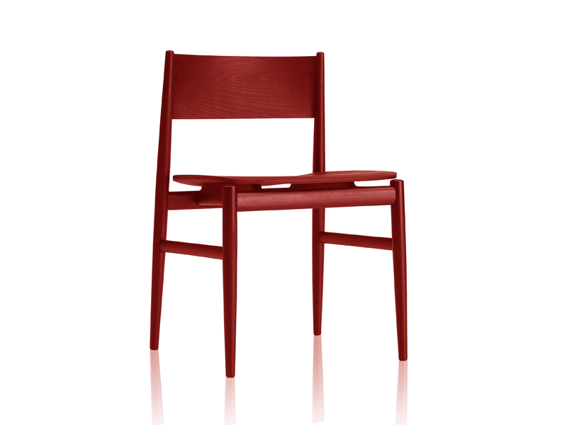 Design upholstered ash chair - Neve in frassino tinto rosso