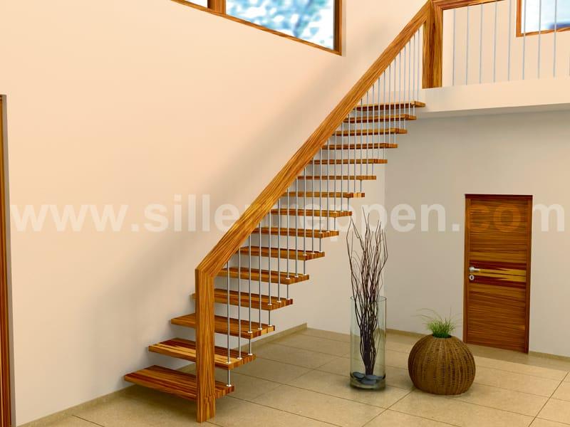 offene treppe aus edelstahl und holz sevilla by siller treppen. Black Bedroom Furniture Sets. Home Design Ideas