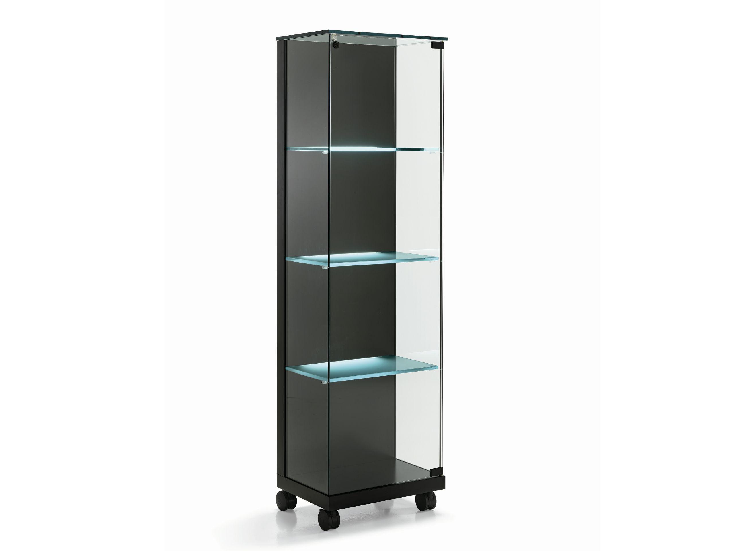 Vitrina de cristal con ruedas medora by tonelli design - Vitrinas de madera y vidrio ...