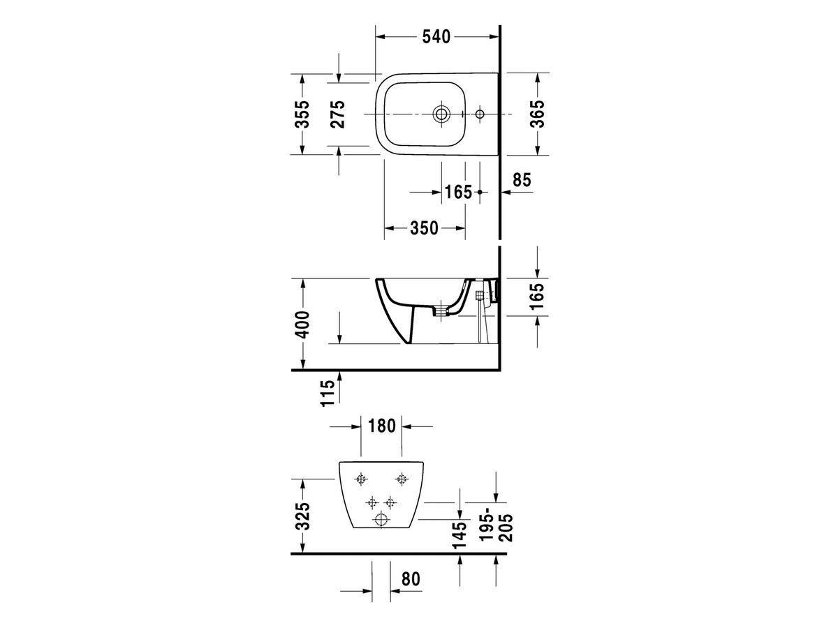 Happy d 2 wall hung bidet by duravit design sieger design - Duravit inodoros ...