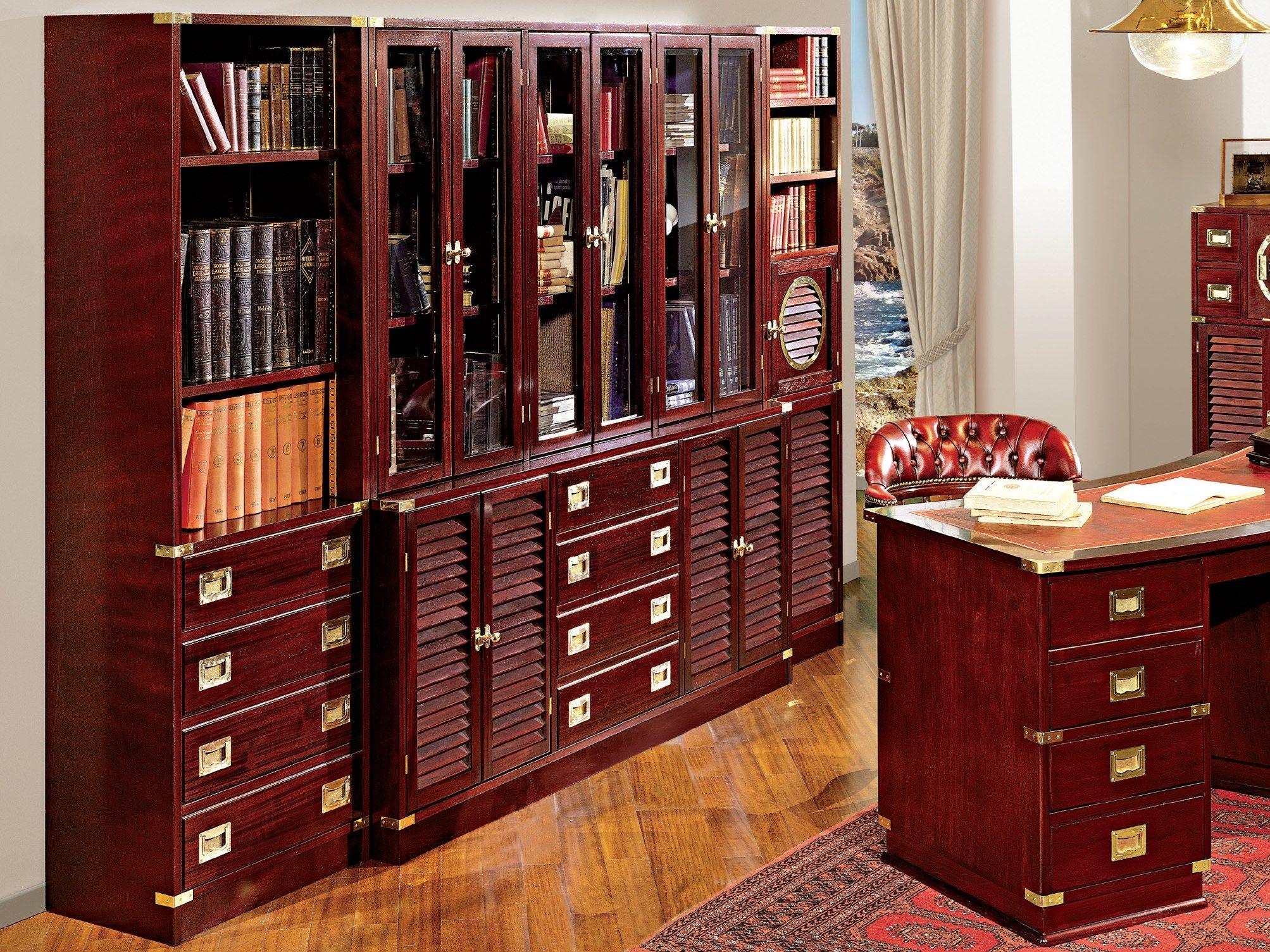 Книжный шкаф из древесины и стекла vecchia maria, caroti - м.