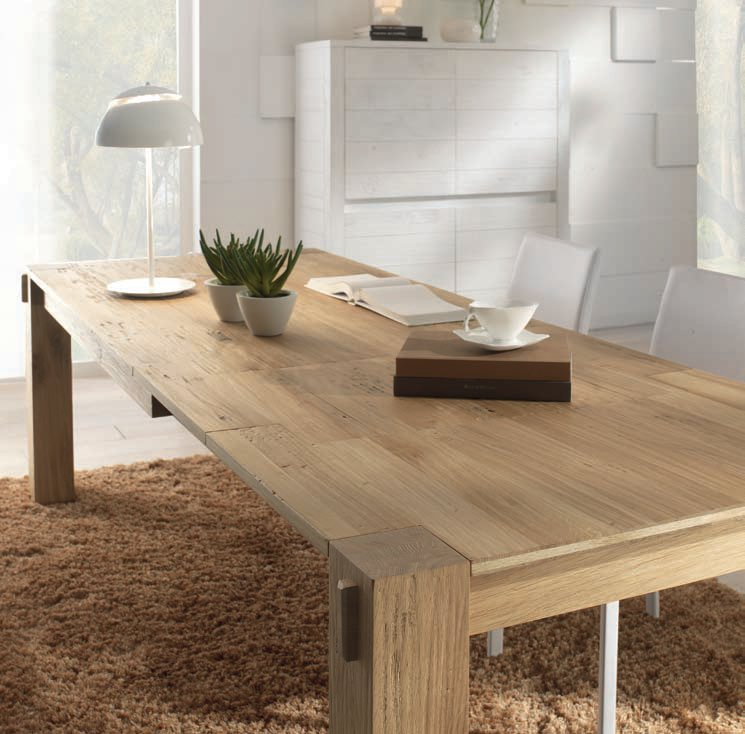 Storia mesa rectangular by domus arte for Mesas de madera para comedor extensibles