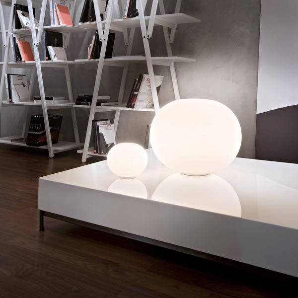 Opal Glass Table Lamp With Dimmer GLO BALL BASIC ZERO By FLOS Design Jasper  Morrison