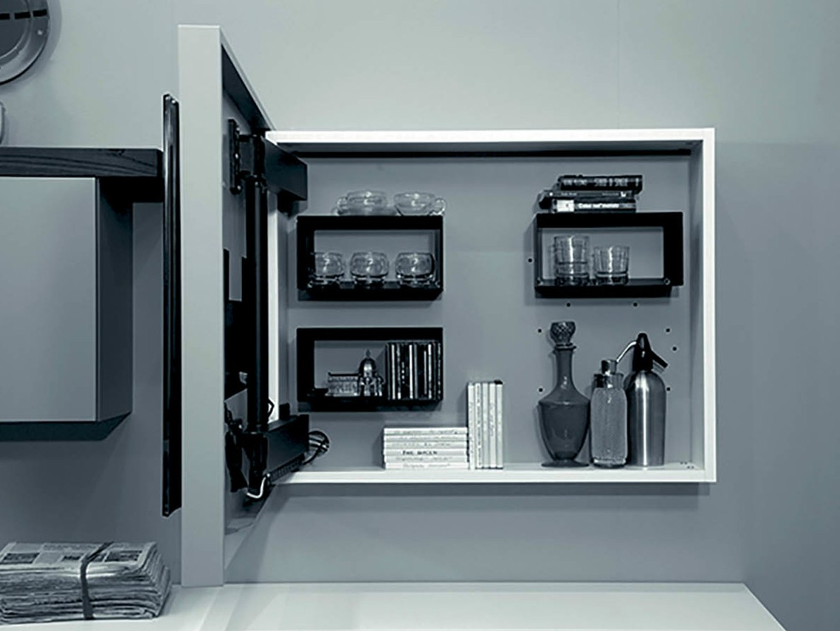 lacquered adjustable wall-mounted tv cabinet rack box by fimar - Soggiorno Fimar 2