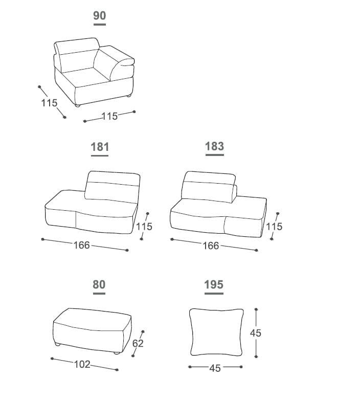 Genial Dimensions ISOLA | Sofa Dimensions ISOLA | Sofa ...