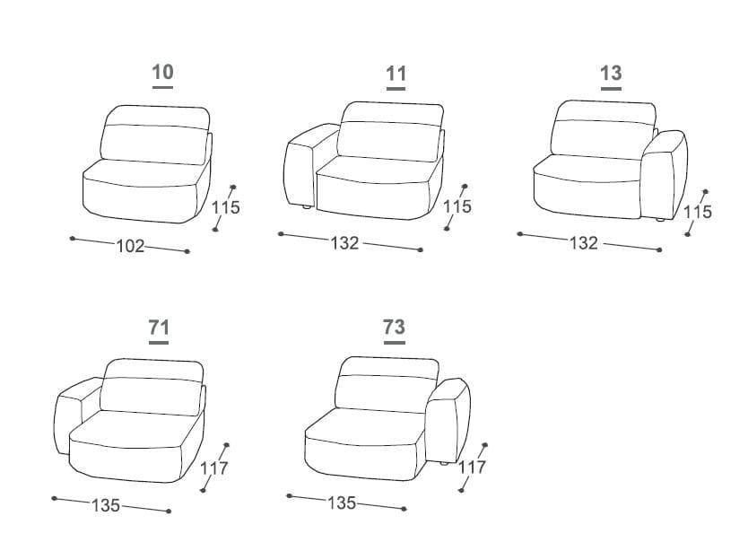 Dimensions ISOLA | Sofa ...