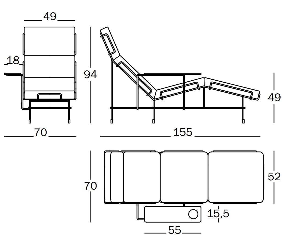 Lounge chair top view drawing - Dimensions Traffic Lounge Chair