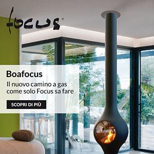 Camino a gas Boafocus con focolare ermetico, firmato Domique Imbert