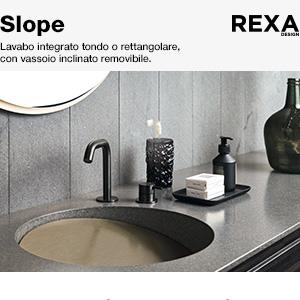 Lavabo integrato con vassoio removibile Slope Rexa Design