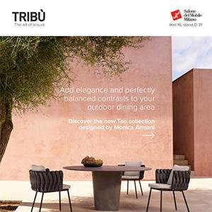 Tribù Tao: tavoli outdoor in raffinato cemento alleggerito