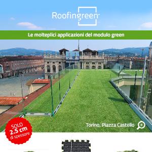 Il modulo green ultrasottile per terrazzi e tetti piani a Piazza Castello, Torino