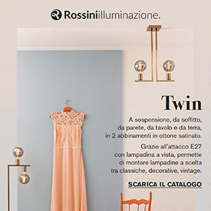 Twin by Rossini Illuminazione: la lampada in ottone satinato con lampadina a vista