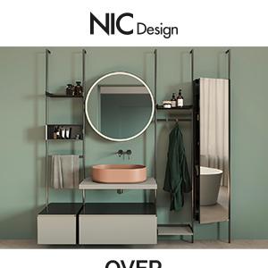 Il mobile lavabo con specchio senza limiti di composizione: OVER by Nic