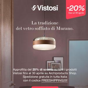 Vistosi: lampade in vetro soffiato di Murano -20% di sconto