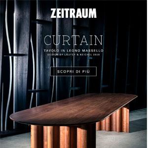 Zeitraum Curtain, il tavolo in legno massello dai movimenti fluidi