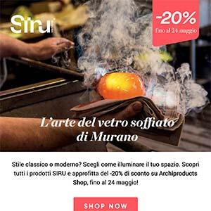 L'arte del vetro soffiato di Murano. -20% sull'illuminazione Siru