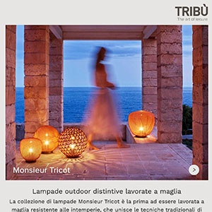 Tribù, lampade outdoor lavorate a maglia: Monsieur Tricot