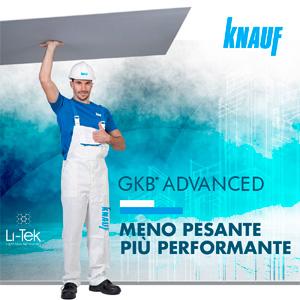Nuova lastra Knauf GKB Advanced: meno pesante, più performante