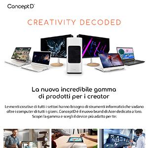 ConceptD by Acer: nuova gamma di prodotti dedicati ai creativi