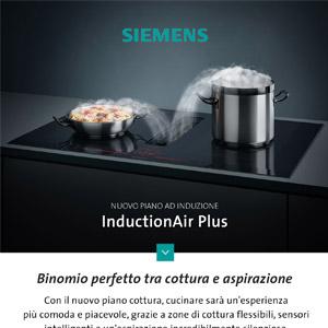 Nuovi piani ad induzione con cappa integrata InductionAir Plus di Siemens