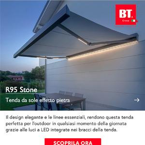 Tenda da sole cassonata effetto pietra con LED integrati: R95 Stone BT Group