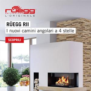 Camini angolari Rüegg RII: la nuova frontiera del fuoco a 4 stelle
