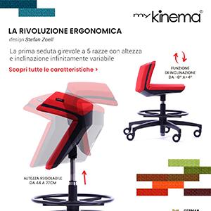 Sedia da ufficio Kinema con altezza e inclinazione infinitamente variabile
