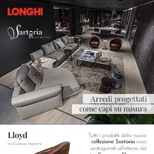 Showroom Longhi, un living coordinato per Sartoria 2020