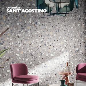 Ceramica Sant'Agostino Deconcrete: l'intramontabile motivo a terrazzo in gres porcellanato