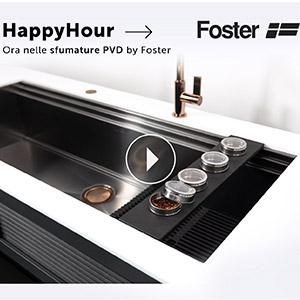 Foster, il nuovo lavello multiaccessoriato HappyHour ora nelle sfumature PVD