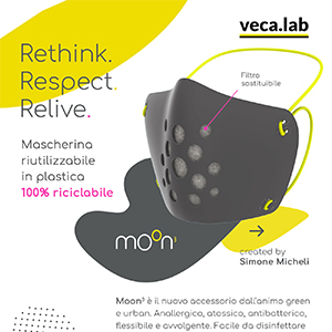 Mascherina riutilizzabile in plastica 100% riciclabile: Rethink, Respect, Relive