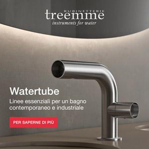 Rubinetterie Treemme Watertube, purezza visiva per il bagno contemporaneo