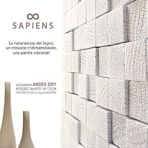 Sapiens Ardes Dry: mosaico decorativo in legno bruciato
