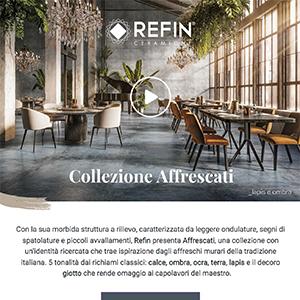Ceramiche Refin collezione Affrescati, ispirata agli affreschi murari della tradizione italiana