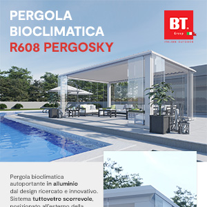 Pergola bioclimatica R608 Pergosky by BT Group: eccellenza Made in Italy
