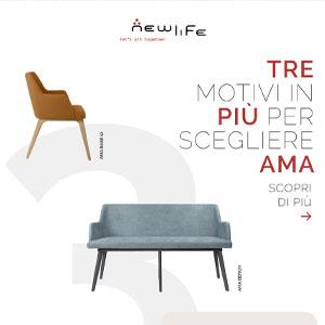Rendi versatili gli ambienti contract con la collezione di sedute AMA di New Life